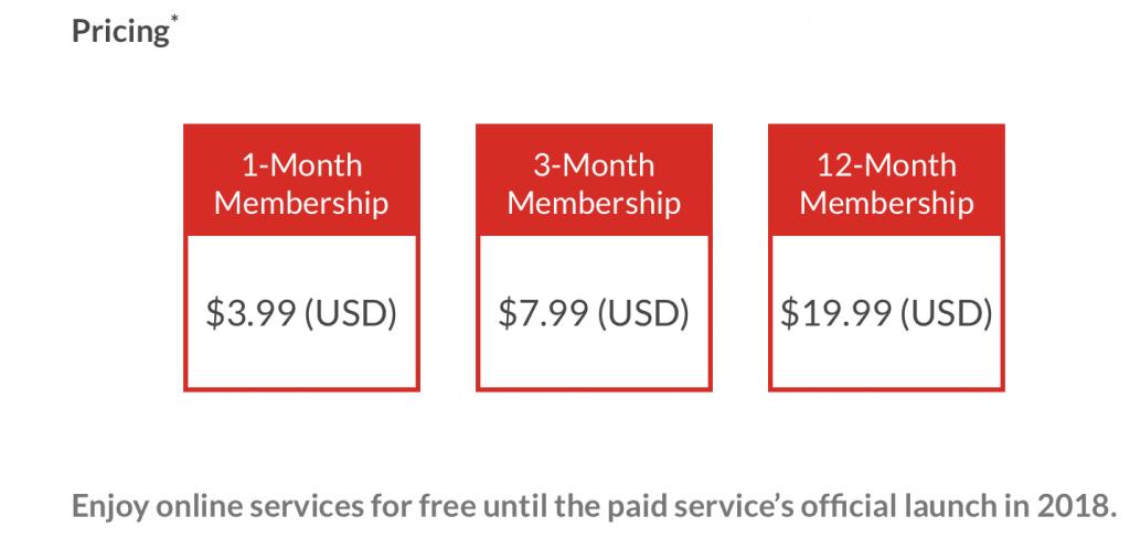 Nintendo online service cost