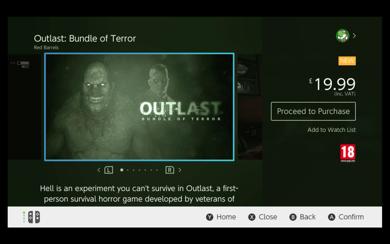 Outlast Switch eShop page