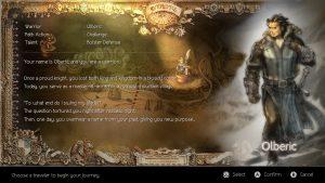 Octopath Traveler Character Select Screen